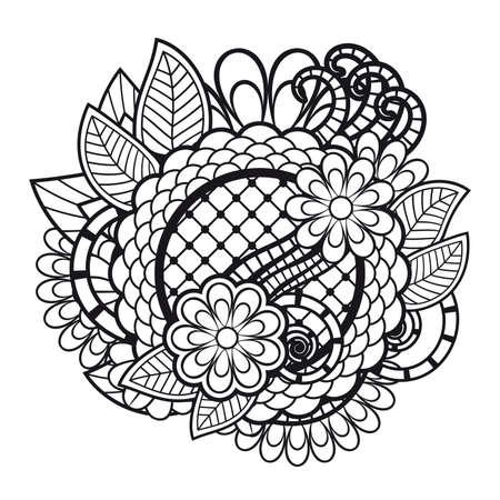 zen: Zen tangle doodle floral ornament