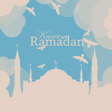 mosque illustration: Ramadan poster or flyer design template