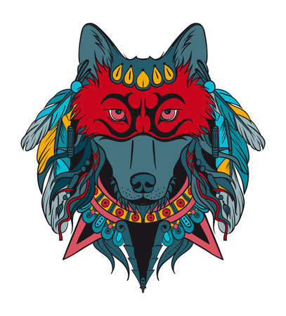 Indian warrior wolf Vectores