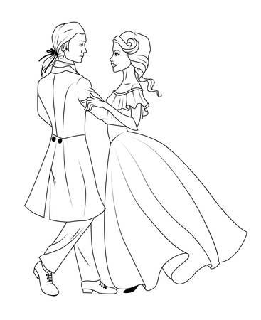 waltz: Coloring book: Couple dancing waltz