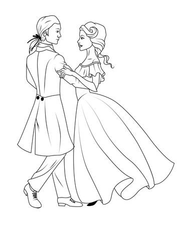 Coloring book: Couple dancing waltz