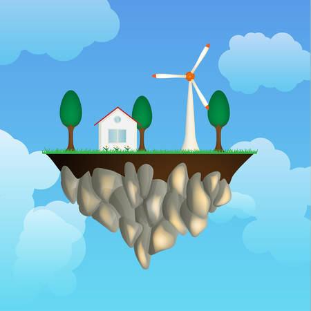 isles: Flying isle with house an wind generator Illustration