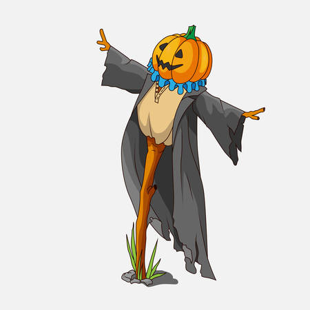scare: Cartoon style scarecrow isolated