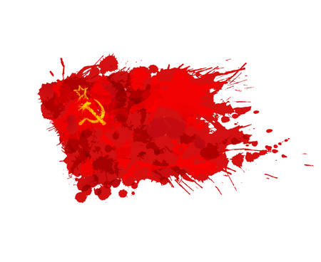 Flag of  USSR or Soviet Union made of colorful splashes