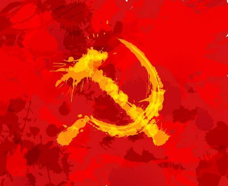 communism: Grunge hammer and sickle symbol of communism on red background Illustration