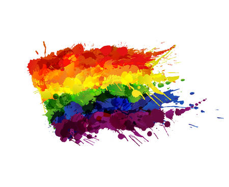 lesbian love: Gay or LGBT flag made of colorful splashes