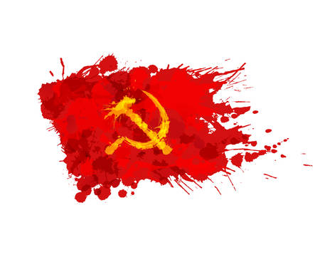 russian: Red flag with hammer and sickle made of colorful splashes