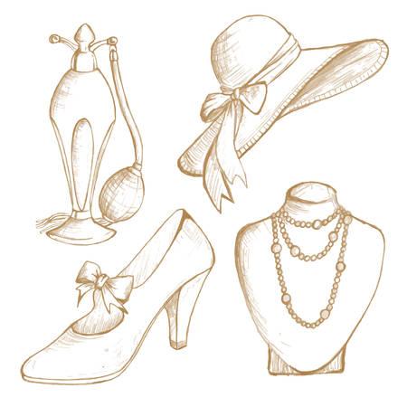 mode retro: Retro fashion sketch set