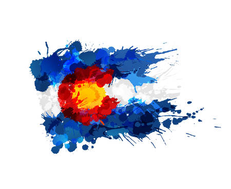 denver colorado: Flag of Colorado made of colorful splashes