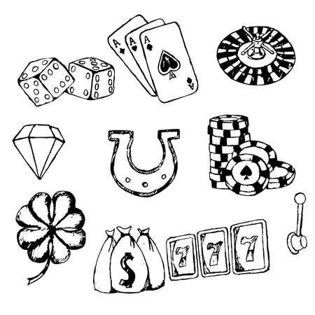 set symbols: Gambling symbols sketches set Illustration