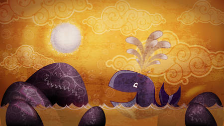 oceanic: Cartoon style whale and sunset