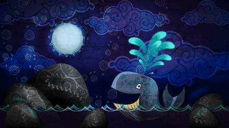 water waves: Cartoon style whale in the night Illustration