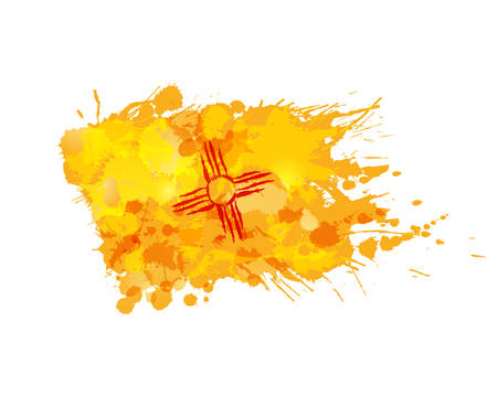 albuquerque: Flag of New Mexico, USA made of colorful splashes Illustration