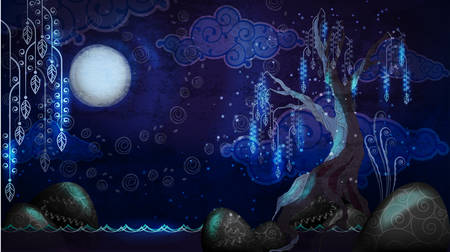 seascape: Cartoon seascape with moon and tree Illustration