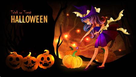 brujas caricatura: Plantilla del cartel de Halloween