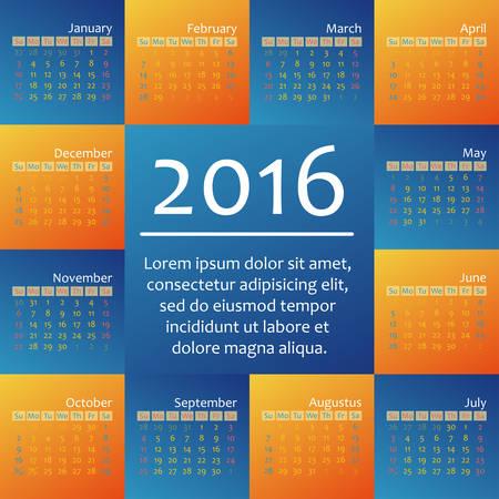 week: Year 2016 calendar template, week starts sunday