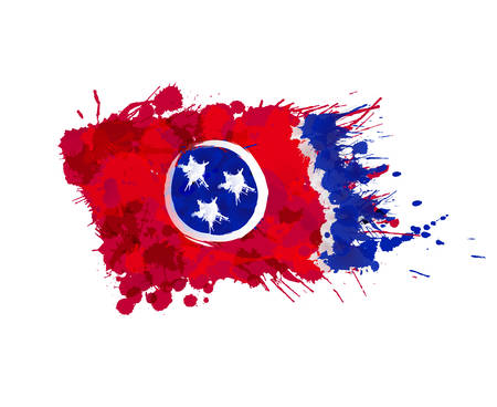 liquid state: Flag of Tennessee, USA made of colorful splashes