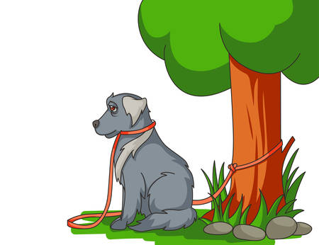 Sad abandoned dog with lead tied to the tree Illustration