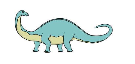devonian: Cartoon brontosaurus isolated