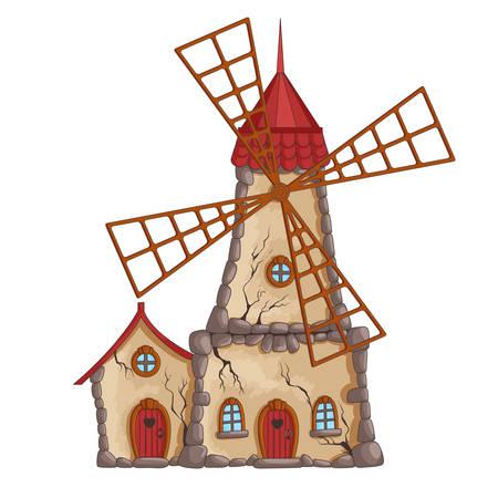 放棄された風車  イラスト・ベクター素材