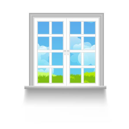 windows home: Window with sky, clouds and grass outside Illustration