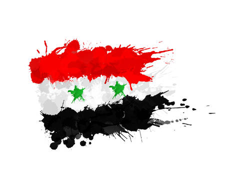 syrian: Syrian flag made of colorful splashes