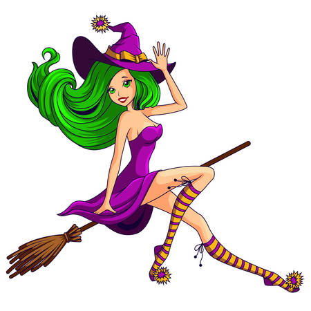 Pretty witch flying on the broom isolated Illustration