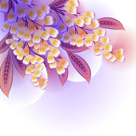 twining: Blooming Wisteria sinensis or Chinese Wisteria branch with leaves vector illustration