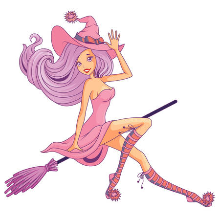 Pretty witch flying on the broom isolated Ilustrace