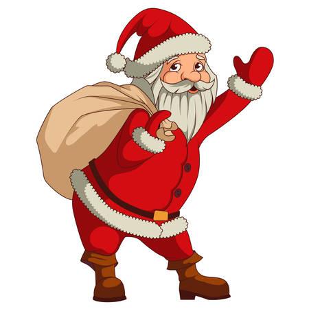 weihnachtsmann lustig: Santa Claus mit großen Sack von Geschenken isoliert