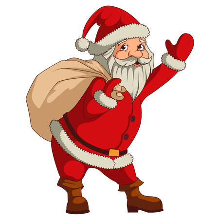 santa claus hats: Santa claus with big sac of gifts isolated Illustration