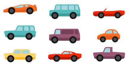 フラット スタイルの車セット