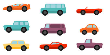 Flat style cars set Illustration