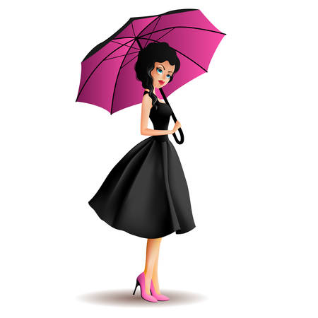 outdoor glamour: Young women with umbrella Illustration