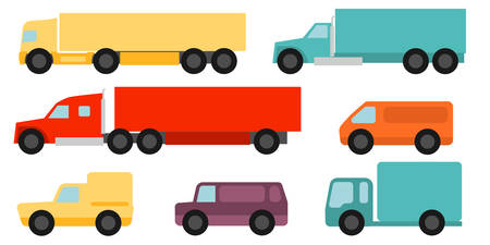 commercial vehicles: Flat style commercial vehicles set
