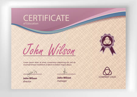 sertificate: Certificate or Diploma of completion design template. Vector illustration of Certificate of Achievement, award, winner certificate. Illustration