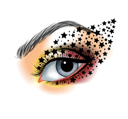creative beauty: Colorful ye closeup with stars  makeup beauty and fashion creative concept