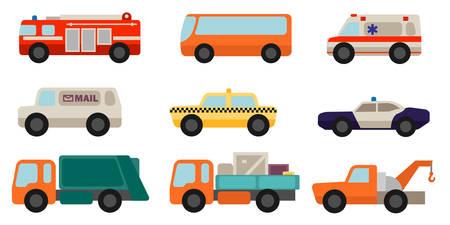 ambulancia: Conjunto de coches de servicio estilo plana Vectores