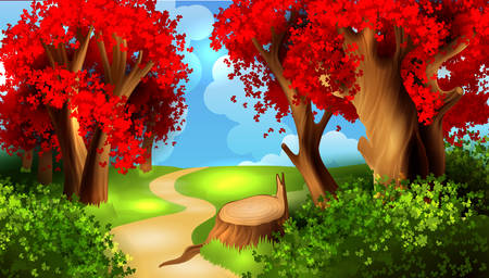 forest landscape: Magic cartoon landscape