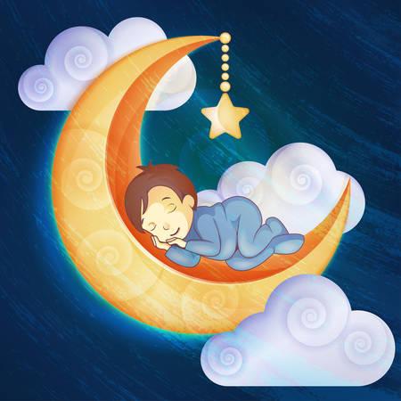luna caricatura: Niño pequeño que duerme en la luna