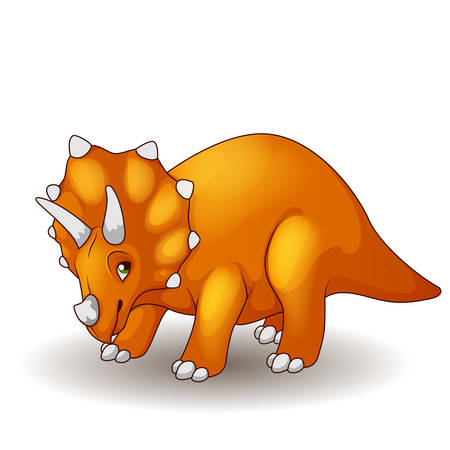 triceratops: Cute cartoon triceratops isolated Illustration