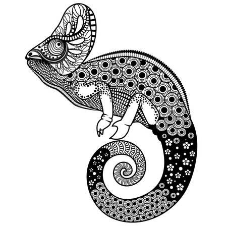 chameleon: Ornate chameleon vector illustration Illustration