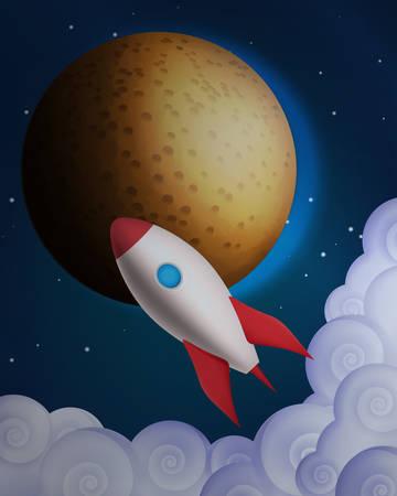 rocket: Cartoon rocket in front of the planet Illustration