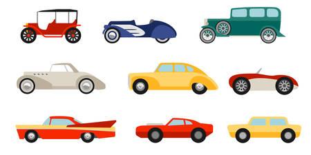 Vlakke stijl klassieke auto's ingesteld