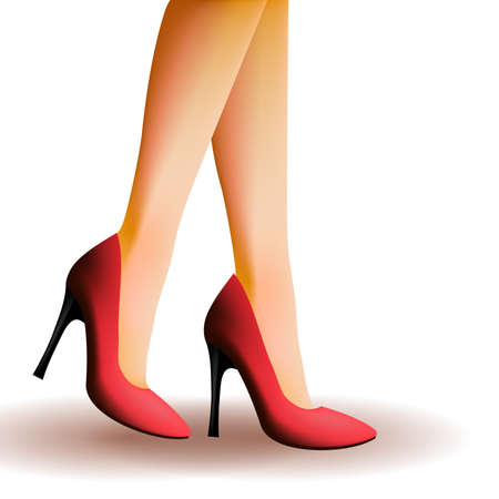 woman legs: Woman legs wearing high heels Illustration