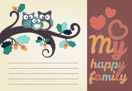 happy family nature: Owl family sitting on a tree branch. Greeting card template Illustration