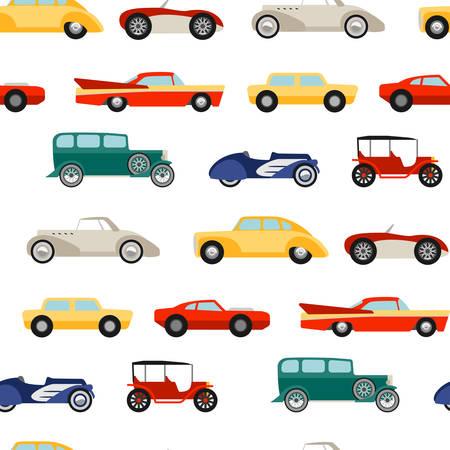 レトロな車がシームレスなテクスチャ  イラスト・ベクター素材