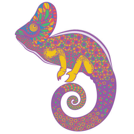 mimicry: Colorful ornate chameleon vector illustration