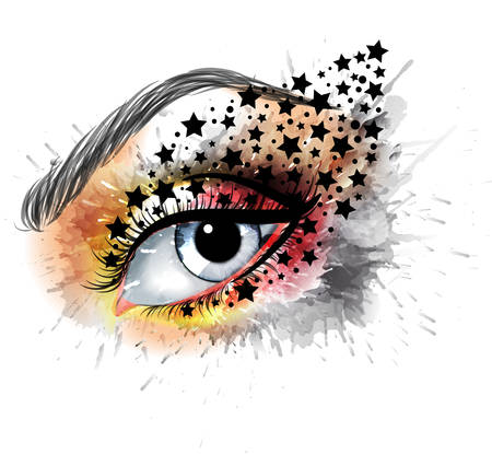 eye drops: Grunge eye with stars  makeup beauty and fashion creative concept Illustration