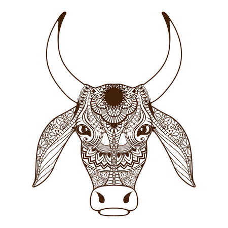 Cow head decorated with ornament Stock Vector - 47538070